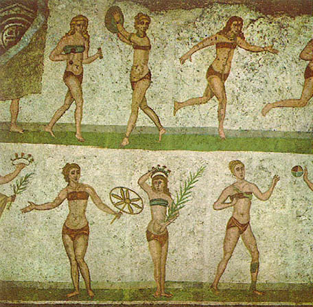 Római fürdőző nők mozaik